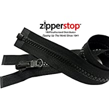 ZipperStop Wholesale YKK® - Vislon Jacket Zipper Reversible Slide YKK® #5 Molded Plastic Separating End - Color BLCK Custom Length (27  Inches)