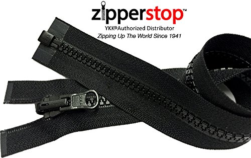 ZipperStop Wholesale YKK® - Vislon Jacket Zipper Reversible Slide YKK® #5 Molded Plastic Separating End - Color BLCK Custom Length (24  Inches) (Plastic Jacket Zipper)