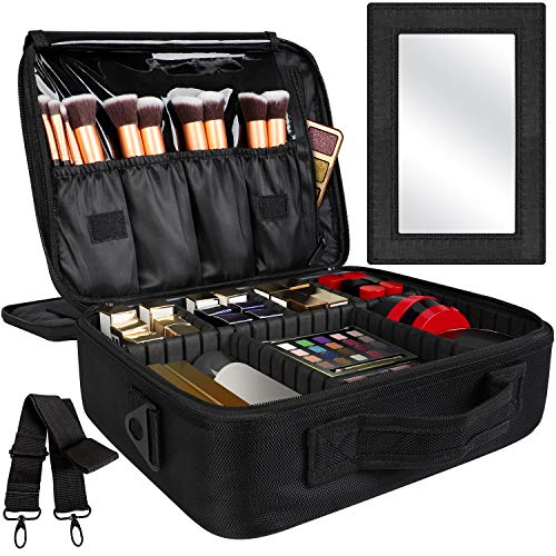 Kootek Travel Makeup Bag Double-Layer Portable Train Cosmetic Case Organizer with Mirror Shoulder Strap Adjustable Dividers for Cosmetics Makeup Brushes Toiletry Jewelry Digital Accessories, L