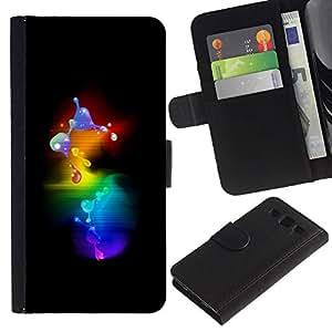 WINCASE (No Para S3 Mini) Cuadro Funda Voltear Cuero Ranura Tarjetas TPU Carcasas Protectora Cover Case Para Samsung Galaxy S3 III I9300 - Molécula 3D burbujas minimalista