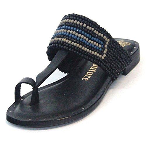 Para dedo del pie-Post Juicy Couture y pedrería para mujer T-bar, estándar del Reino Unido 3,5, de £115 negro - negro