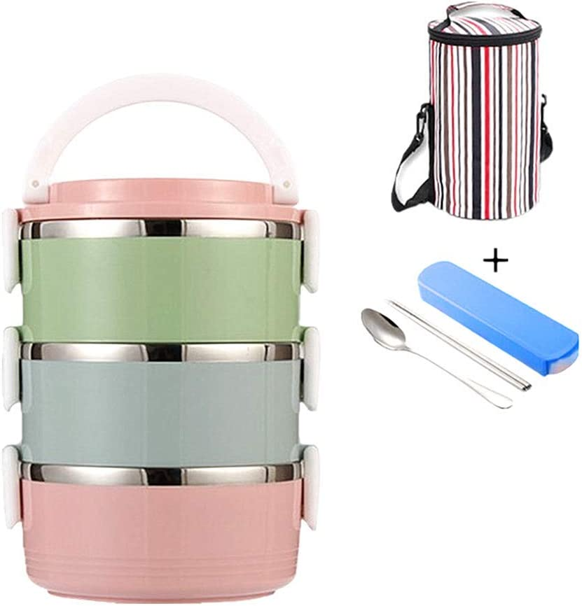 Thermal Lunch Box Leak Proof Lunch Container All-in-one Stackable Lunch Box Stainless Steel Bento Lunch Box With Bag and Portable Flatware Set for Adults 3 layers Multicolor