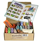 Woolbuddy Needle Felting Starter Kit 16 Wool Colors, Felting Foam Mat, 6 Needles, 3 Thimbles, Instruction Book, Arts and…