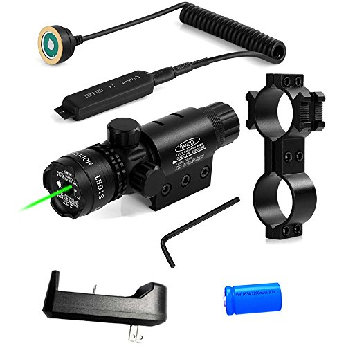 Powered Laser (Wenxy Green Laser Sight System High Powered Tactical Green Laser with Picatinny Rail Mount Barrel Mount Pressure Switch and On/Off Switch for Rifles and Shotguns)