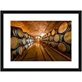eFrame Fine Art | Wine Barrel Cellar, Cape Winelands, Winery South Africa 1 of 2 by Blaine Harrington 16'' x 24'' Framed Wall Art for Wall or Home Decor (Black, Brown, White Frame or No Frame)