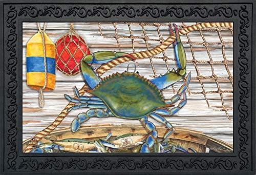 Briarwood Lane Blue Crab Bushel Summer Doormat Nautical Indoor Outdoor 18 x 30