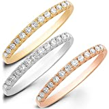 1.80 CT Stacking Round Cut CZ Pave Solitaire Designer Classic Band Ring Set Solid 14k Multi Gold