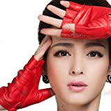 Nappaglo Half-Finger Leather Gloves Goatskin Outdoor Riding for Women (XL, Red)