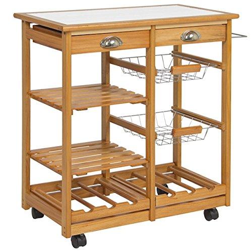 Rolling Wooden Kitchen Island Drawers Utensils Storage Organizer Basket Shelves 6 Bottles Wine Racks Towel Rack Utility Cart Dining Trolley Real Pine Wood (Mahogany 3 Drawer Granite Top)
