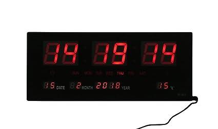 CLOCK STORE cucuba® Reloj digital de pared a LED rojos con fecha y temperatura funciona