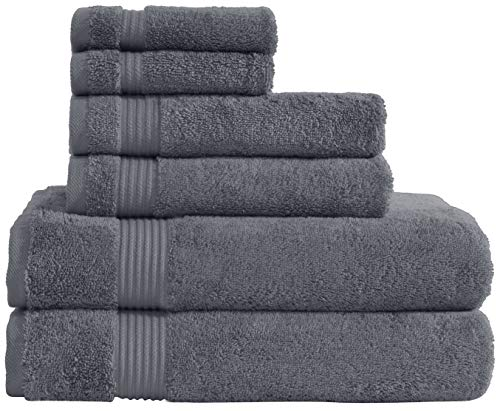 Hotel & Spa Quality Super Absorbent & Soft, Cotton, 6 Piece Turkish Towel Set for Kitchen & Decorative Bathroom Sets Includes 2 Bath Towels 2 Hand Towels 2 Washcloths, Charcoal Grey
