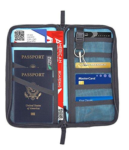 Large Passport Case - Fitters Niche Travel Wallet Family Passport Organizer Zipper Case Holder, Blue
