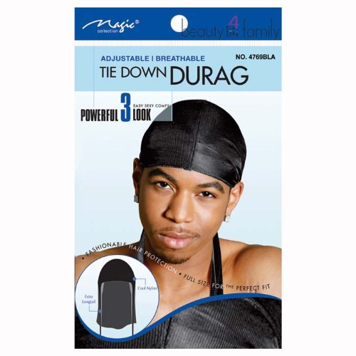 Magic Tie Down Durag No.4769BLA by Magic Collection Bee Sales