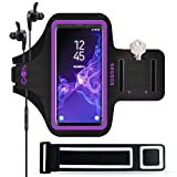 SOSONS Galaxy S9/S9+ Armband, Water Resistant Sports Gym Armband Case for Samsung Galaxy S9/S9 Plus,with Card Pockets and Key Slot,Fits Smartphones with Slim Case + Extension Strap (Purple)