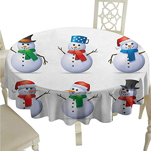 Oil-Proof and Leak-Proof Tablecloth Christmas Snowmen with Different Cute Hats and Scarfs Carrot Noses Xmas Winter Season Theme Soft and Smooth Surface D60 Suitable for picnics,queuing,Family