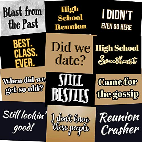 High School Class Reunion Photo Booth Props Party Signs - Set of 12 (Class Reunion) -