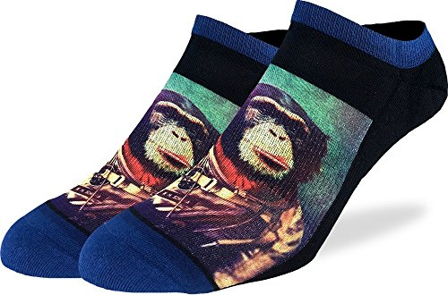 Blue Space Monkey - Good Luck Sock Men's Space Monkey Ankle Socks - Blue, Adult Shoe Size 7-12