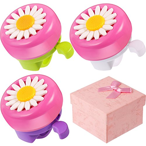 BBTO 3 Pieces Kids Bike Bells Flower Shape Bicycle Rings Accessory Bike Parts with Gift Boxes for Girls, 3 Colors
