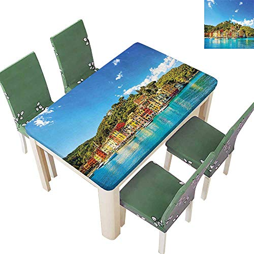 Decorative Tablecloth Mediterranean European Town by The Sea Portofino Italian Harbor Panorama Blue Green Assorted Size 50 x 102 Inch (Elastic Edge)