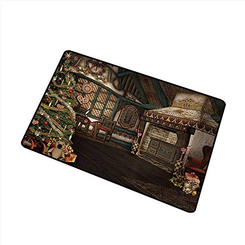 duommhome Interior Door mat Christmas Inner View of a Xmas House Mistletoe Yuletide Winter Season Celebration Image W16 xL20 Easy to Clean ()