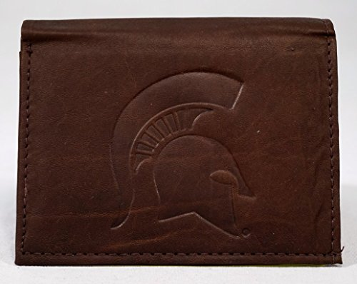 NCAA Michigan State Spartans Tri-Fold Leather Wallet, Brown
