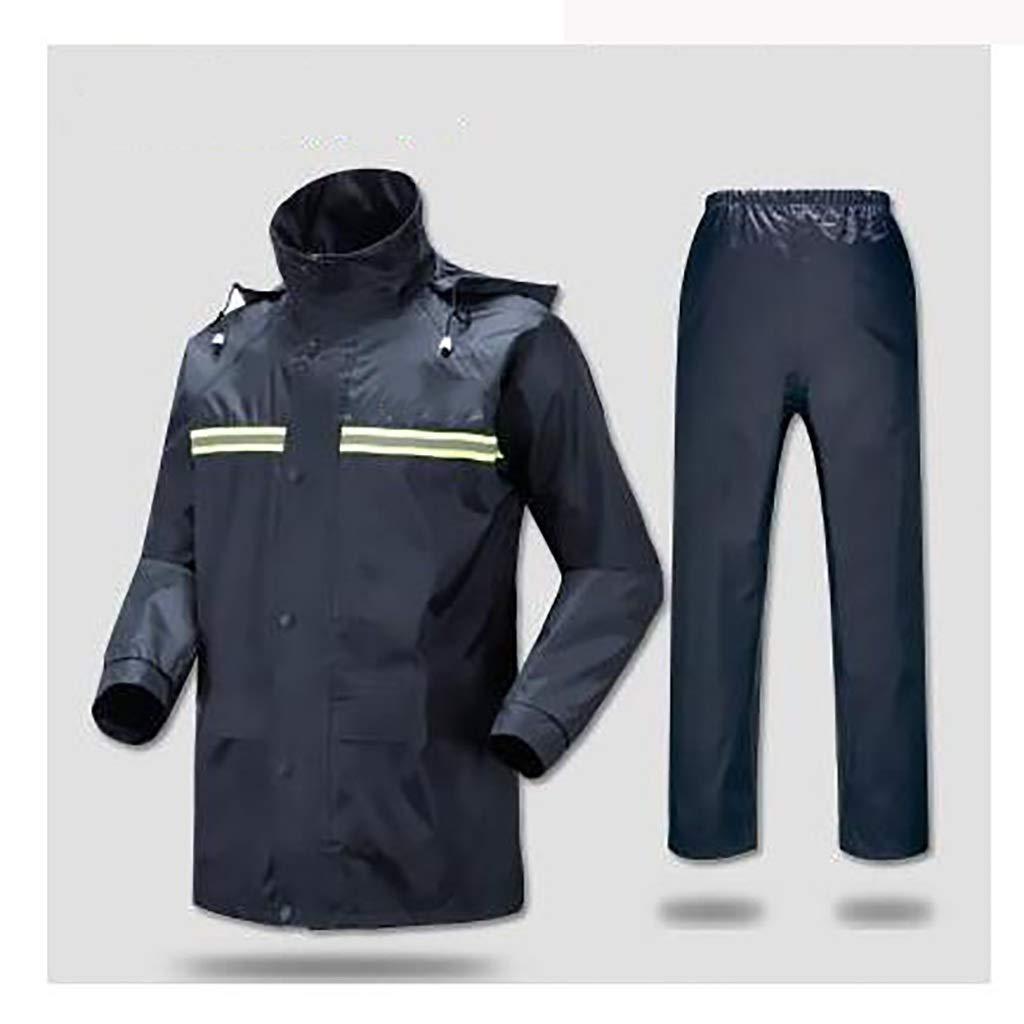 Djyyh オートバイレインパンツスーツスーツダブルメンズ防水ジャケットスーツ女性の分割レインコート軽量通気性の高い (Color : Navy, Size : M) B07SQZ8FQJ Navy Medium