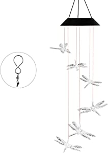 OCACA Wind Chimes, Dragonfly Color Changing LED Solar Powered Night Lights for Indoor/Outdoor Decoration, Mobile Waterproof Wind Bell for Home, Garden, Patio, Party, Festival Decor, Romantic Birthday