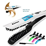 flat iron hair comb - Hair Straightening Irons Steam Hair Straightener Fast Electric Smooth Brush Ceramic Hair Straightener Comb Steam Flat Iron with LCD Straight Brush Hair Flat Iron Straightener
