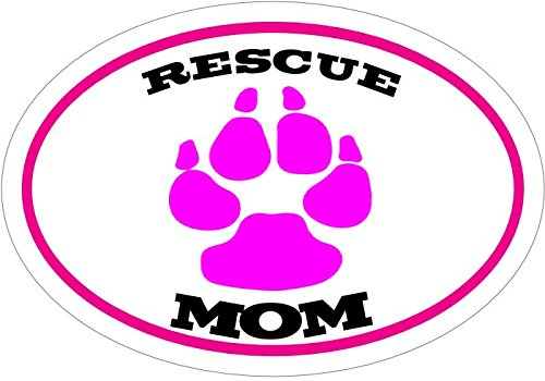 Pet Adoption Rescue - WickedGoodz Oval Pink Paw Rescue Mom Vinyl Decal - Pet Adoption Bumper Sticker - Perfect Dog Owner Gift