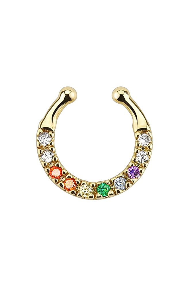 Brass with Gold IP Plating Fake Septum Clicker Clip On Non Piercing Nose Ring Hoop Septum Hanger 3//8 Choose Your Color