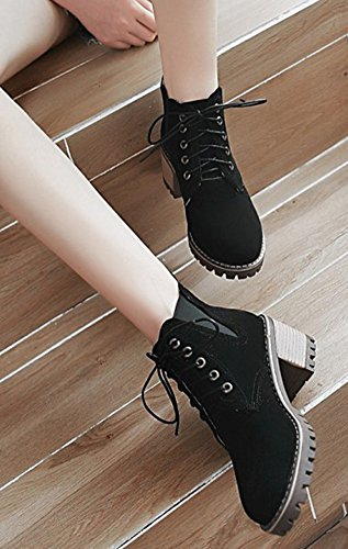 Round Black Aisun Elastic Mid Boots Heel Ankle Casual Booties Lace Up Stacked Toe Womens Platform xgTwqX
