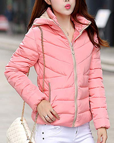 Cazadoras Abrigos Capucha Espesar Chaquetones Pink Slim con Mujer Guiran Invierno Corto Cálido Plumas 0pgw6fq