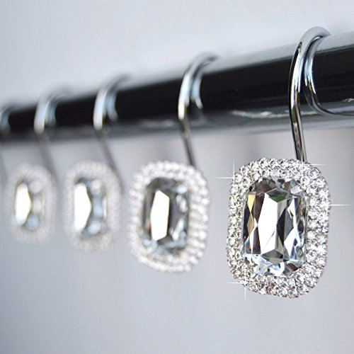 American Cuteness Shower Curtain Hooks Rings - Clear Luxurious Decorative Crystal Gems Bling Rhinestones Bathroom Bath Gift Set Women Girls Decor (Clear) ()