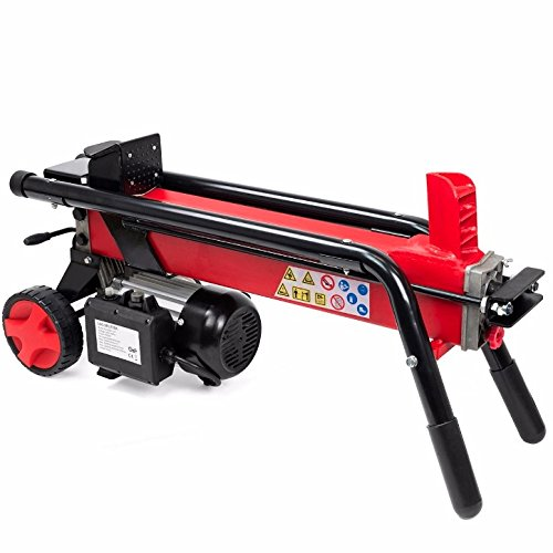 Speed Log (Red Electric Hydraulic Wood Log Splitter With Wheel Cut Wood Mobile Electrical 3400RPM Motor Speed 2HP Electric Motor 7 Tons RAM Splitting Force Powerful Portable Machine Cutter Durable Steel Material)