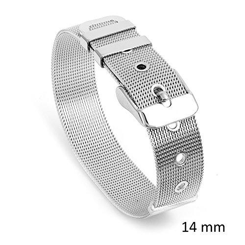 JewelryVolt Womens Stainless Steel Mesh Belt Buckle Clasp Silver Tone Bracelet 8mm-10mm-14mm-17mm (14 Millimeters)