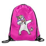 MCWO GRAY Dabbing Unicorn Hip Hop Drawstring Bag Backpack Draw Cord Bag Sackpack Sport Bag Gym Bag Large Lightweight Gym For Men And Women Hiking Swimming Yoga