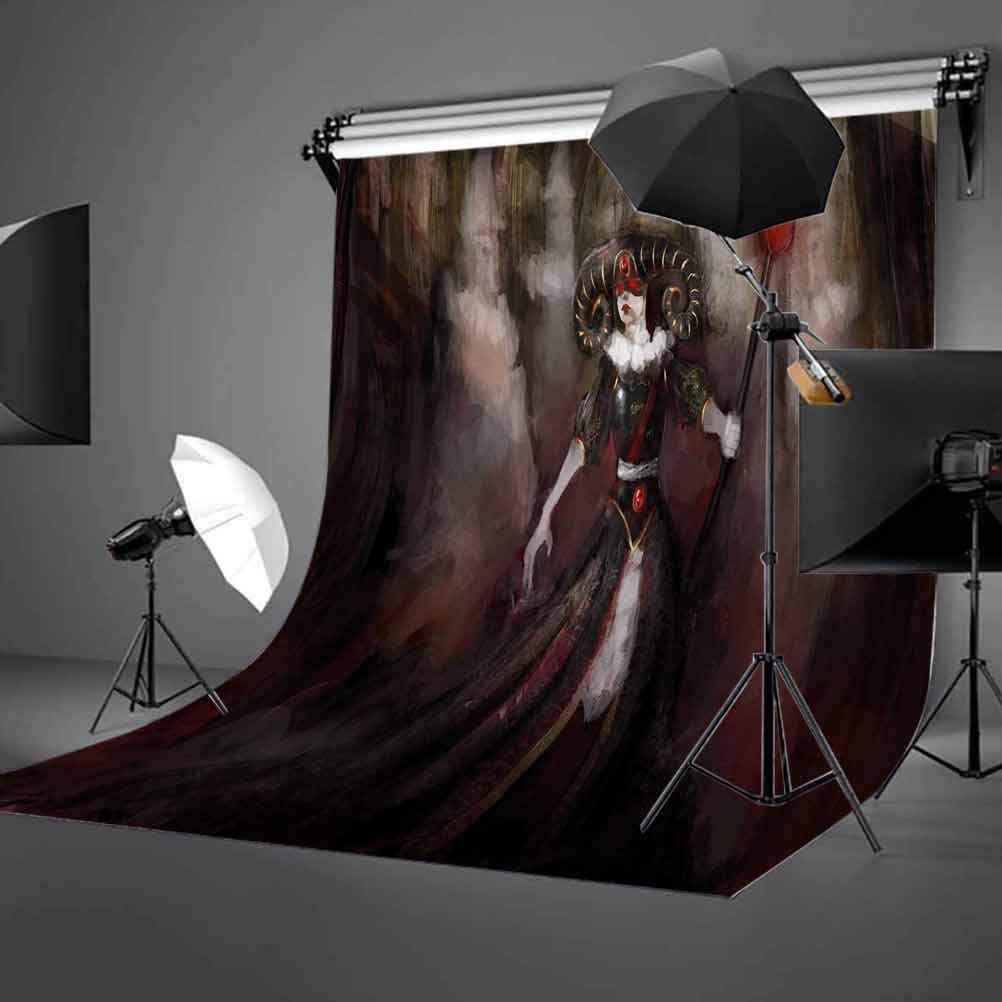 Medieval Evil Woman Horns Mask Witch Myth Fantasy Old Fashion Scary Watercolor Background for Child Baby Shower Photo Vinyl Studio Prop Photobooth Photoshoot Gothic 6x8 FT Photography Backdrop