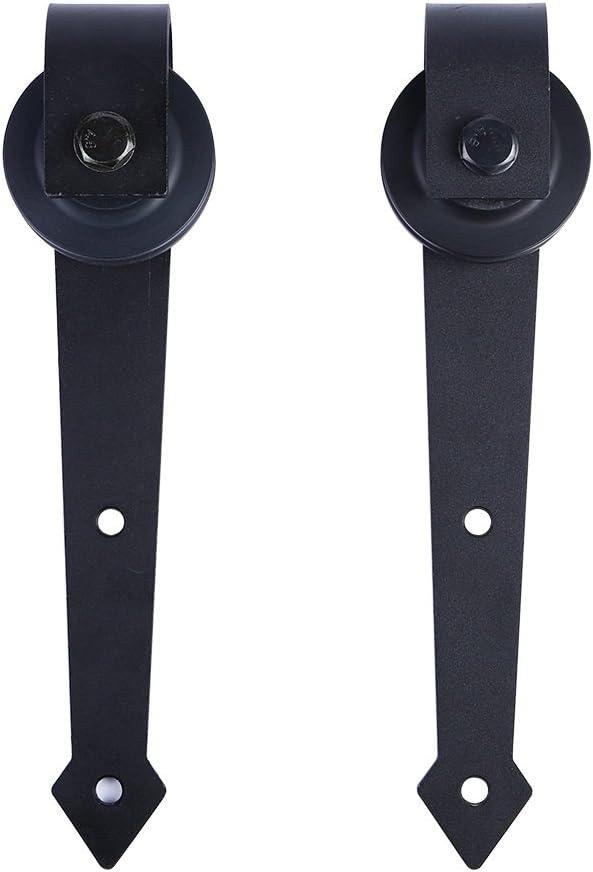 ccjh Extra juego de rodillo de perchas de madera granero puerta deslizante Hardware negro (sin alcachofa de ducha): Amazon.es: Bricolaje y herramientas