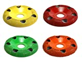 "Set of 4 - 4'' Donut Wheel, Round Face, w/ Holes, Fine, Medium, Coarse, Extra Coarse Grit, Bore Size 7/8"" - Carving Wheels, Disc Sanders by Saburr Tooth - Rotary, Shank, Power carving tool"