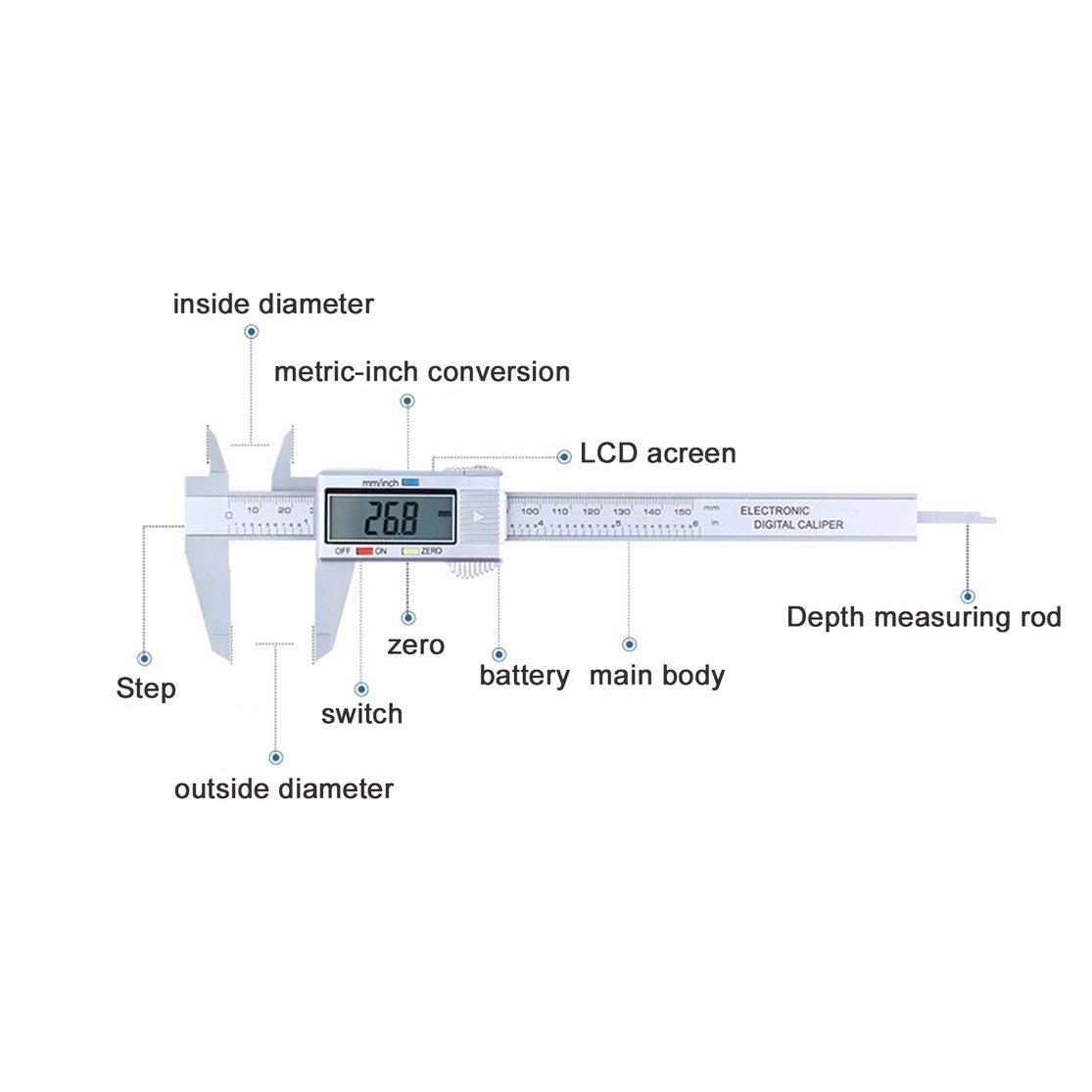 LouiseEvel215 Composites en Fibre de Carbone LCD Num/érique Pied /à Coulisse 0-150mm Jauge Microm/ètre Outil de Mesure R/ègle /à Coulisse avec Conversion en Pouce /à MM