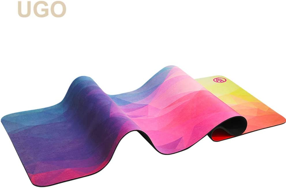 UGO Foldable Travel Yoga Mat for Hot Yoga Hotel Room/Beach Made from Natural Rubber and Suede Microfiber 1.3MM, 71