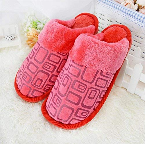 Big red JaHGDU Ladies Casual Fall and Winter Warm Slipper Indoor Home Villus Cotton Printed Pattern High Wear Resistance Warmth Slip Slippers