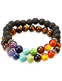 2 Pack Chakra Bracelets by HoodaSpa - 7 Chakras + Lava Rock Stones wth diffusible pores and 7 Chakras + Tiger Eye Stone Beads with Adjustable Elastic String - Natural Real Beads/Stones