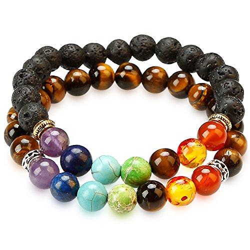 HoodaSpa 2 Pack Chakra Bracelets 7 Chakras and Lava + Select from Six Other Genuine Stone Bracelets (HSPA-B001) by HoodaSpa