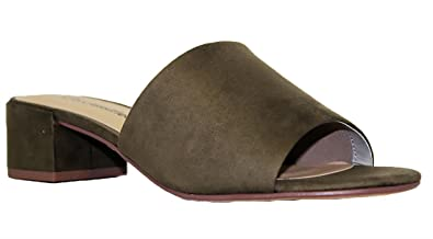 City Classified Women's Open Toe Chunky Heel Suede Slide Sandals Shoes  Olive 5.5
