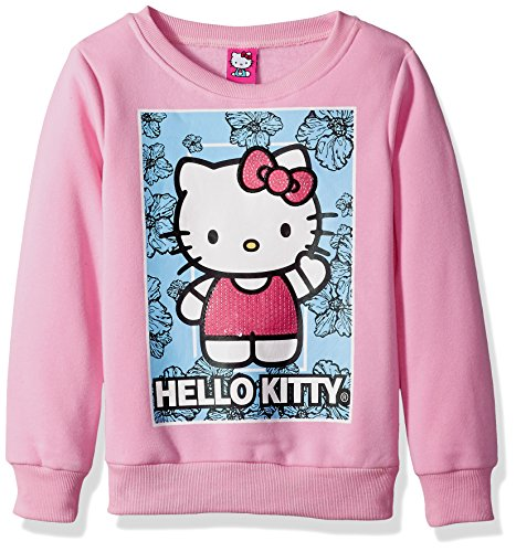 Hello Kitty Girls' Big Sweatshirt with Sequins and Lace Details, Pink, 10