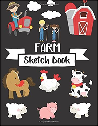 H Practice Learning  How To Draw Sketch Pad Farm Sketch Book: For Kids Sketchbook With Blank Paper For Drawing And Sketching Journal And Sketch Pad For Drawing Cow Fun Design with Tractor 8.5 x 11 Large Blank Pages For Sketching Sketchbook For Kids