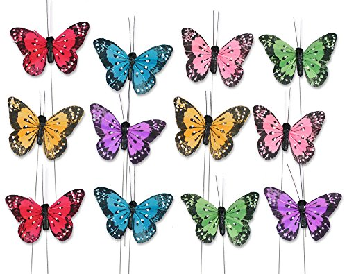 BANBERRY DESIGNS Butterfly Floral Picks with Feather Wings - Set of 12 Colorful Artificial Butterflies on Metal Wire Plant Stake Stems - Wedding Decorations