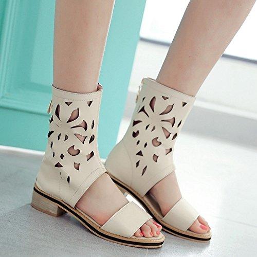 COOLCEPT Mujer Moda Ankle Wrap Sandalias Punta Abierta Tacon bajo Zapatos With Cremallera Beige