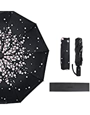 Umbrella, mtsugar Sakura Compact Automatic Open & Close Folding Umbrella - 10 Ribs Windproof UV Protection Lightweight with Safe Auto Lock Design, One Handed Operation
